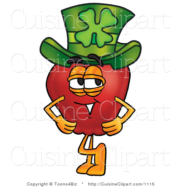 Cuisine Clipart of a Healthy Red Apple Character Mascot Wearing a Green Paddy's Day Hat with a Four Leaf Clover on It