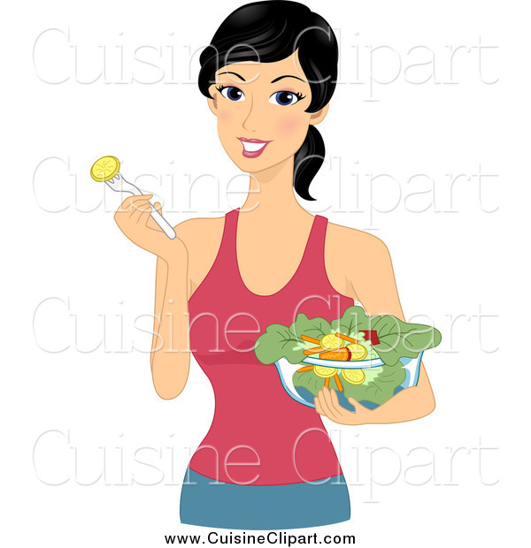 Cuisine Clipart of a Healthy Woman Eating a Salad