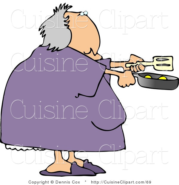 Cuisine Clipart of a Heavyset Woman Cooking Breakfast Eggs in a Skillet