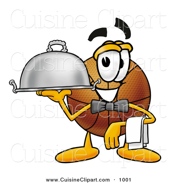 Cuisine Clipart of a Helpful Basketball Mascot Cartoon Character Dressed As a Waiter and Holding a Serving Platter