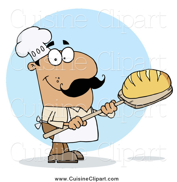 Cuisine Clipart of a Hispanic Baker Man with Fresh Bread