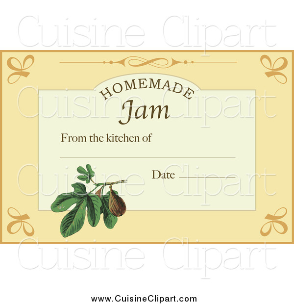 Cuisine Clipart of a Homemade Jam Label with Text Space