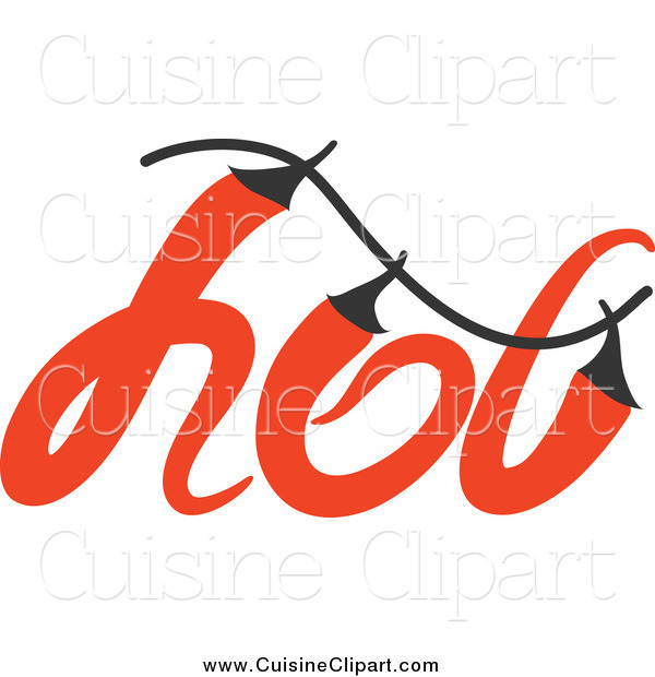 Cuisine Clipart of a Hot Chili Pepper Word Design