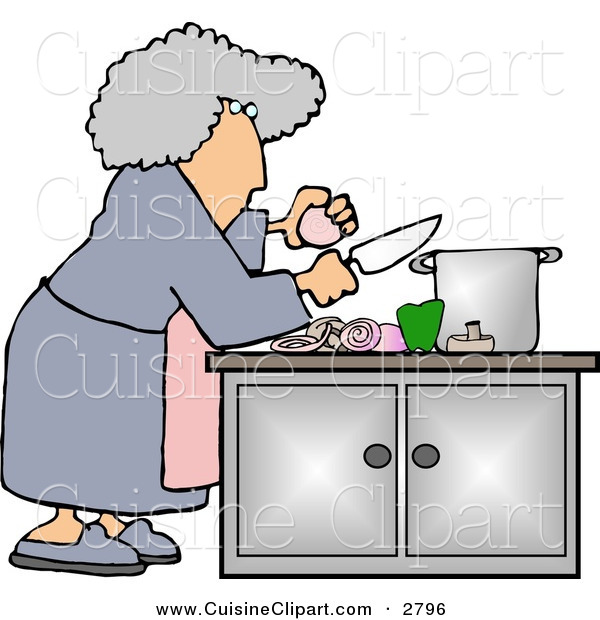 Cuisine Clipart of a Housewife Preparing a Meal for Dinner over White