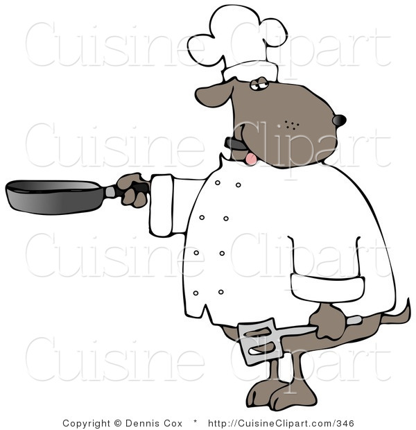 Cuisine Clipart of a Human-like Brown Chef Dog Cooking with a Skillet and Spatula
