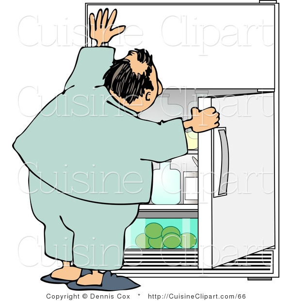 Cuisine Clipart of a Humorous Obese Man Looking for Something to Eat in the Fridge for a Midnight Snack