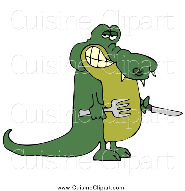 Cuisine Clipart of a Hungry Alligator Holding a Knife and Fork