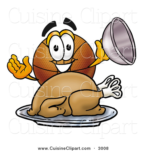 Cuisine Clipart of a Hungry and Grinning Basketball Mascot Cartoon Character Serving a Thanksgiving Turkey on a Platter
