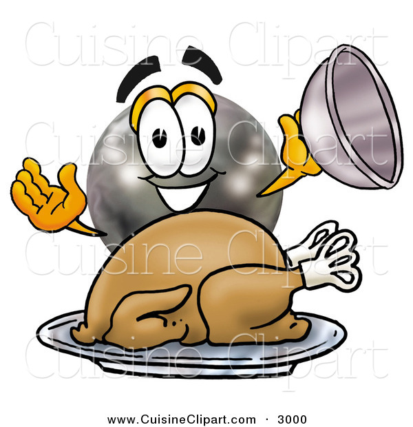 Cuisine Clipart of a Hungry and Grinning Bowling Ball Mascot Cartoon Character Serving a Thanksgiving Turkey on a Platter