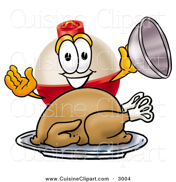 Cuisine Clipart of a Hungry and Grinning Fishing Bobber Mascot Cartoon Character Serving a Thanksgiving Turkey on a Platter on White