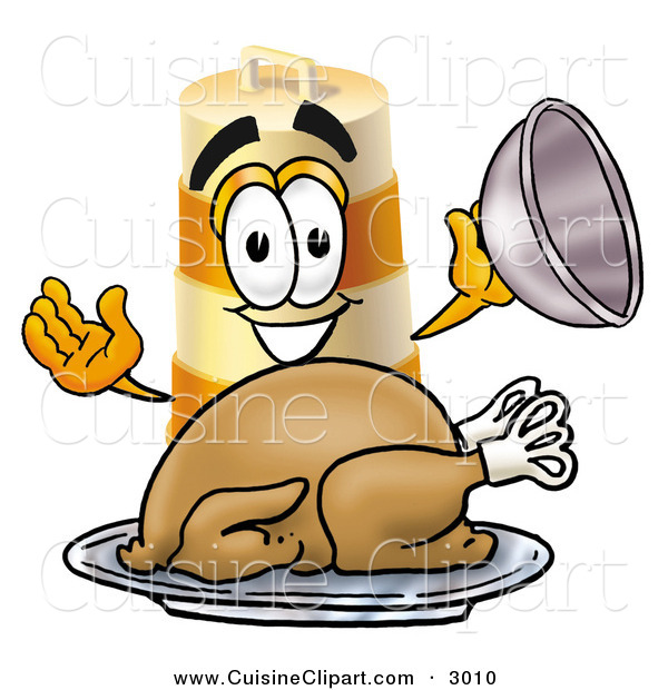 Cuisine Clipart of a Hungry and Happy Barrel Mascot Cartoon Character Serving a Thanksgiving Turkey on a Platter