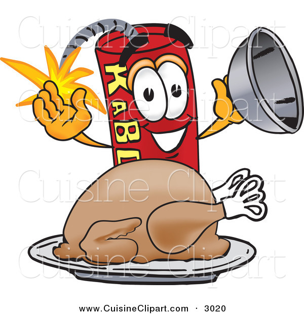 Cuisine Clipart of a Hungry and Happy Dynamite Mascot Cartoon Character with a Thanksgiving Turkey on a Platter