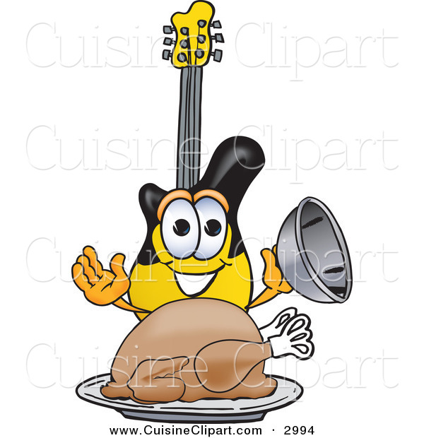 Cuisine Clipart of a Hungry and Happy Guitar Mascot Cartoon Character Serving a Thanksgiving Turkey on a Platter