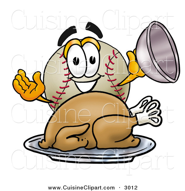 Cuisine Clipart of a Hungry and Smiling Baseball Mascot Cartoon Character Serving a Thanksgiving Turkey on a Platter on White