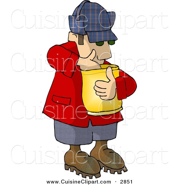 Cuisine Clipart of a Hungry Caucasian Woodsman Eating Food from a Bag