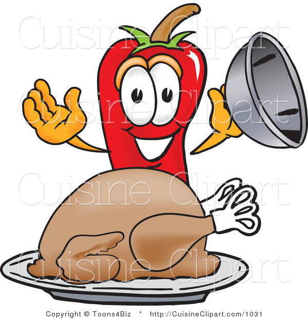 Cuisine Clipart of a Hungry Chili Pepper Mascot Cartoon Character with a Turkey in a Platter