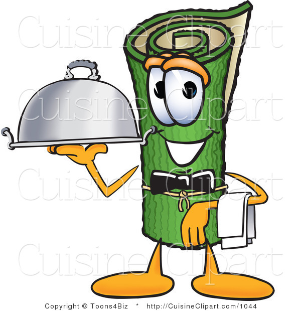 Cuisine Clipart of a Hungry Green Carpet Mascot Cartoon Character Dressed As a Waiter and Holding a Platter