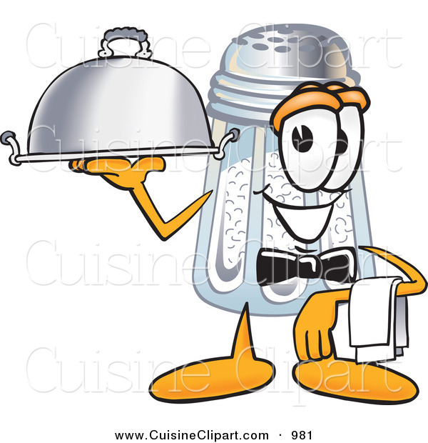 Cuisine Clipart of a Hungry Salt Shaker Mascot Cartoon Character Dressed As a Waiter and Holding a Serving Platter