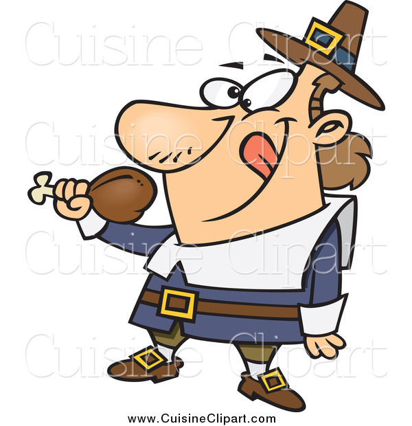 Cuisine Clipart of a Hungry Thanksgiving Pilgrim Holding a Drumstick