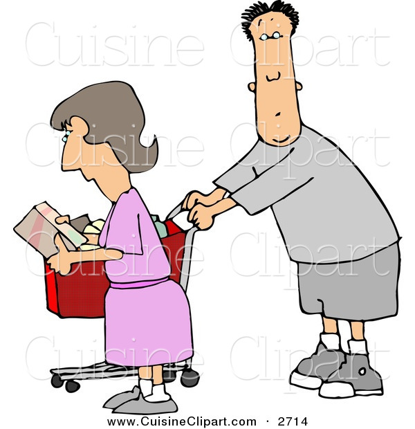 Cuisine Clipart of a Husband and Wife Going Grocery Shopping Together