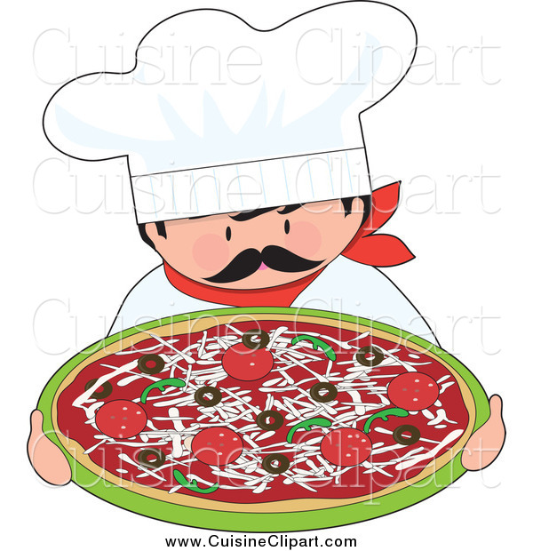 Cuisine clipart of a itialian chef holding a pizza by for Art and cuisine cookware review