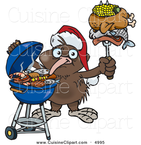 Cuisine Clipart of a Kiwi Bird Wearing a Santa Hat and Holding Food on a BBQ Fork