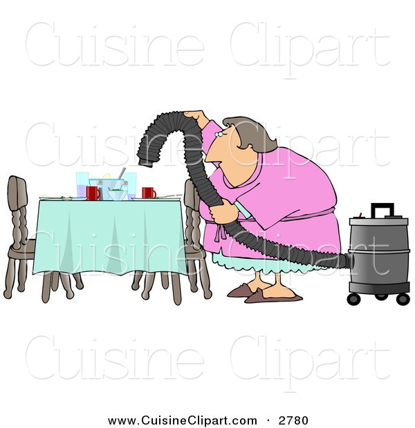 Cuisine Clipart of a Lazy Caucasian House Wife Using a Vacuum to Suck Everything off the Dinner Table so She Doesn't Have to Clean on White