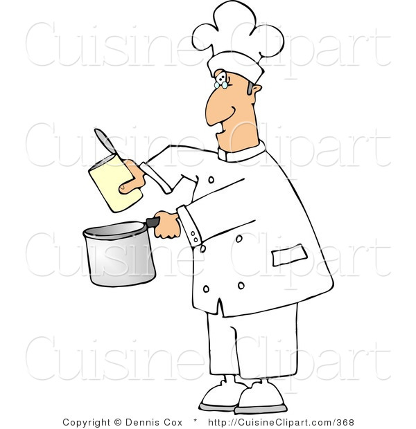 Cuisine clipart of a lazy chef pouring food from a can for Art cuisine cookware