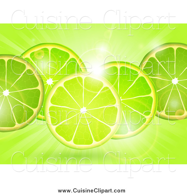 Cuisine Clipart of a Lime Slicess over Flares and Rays