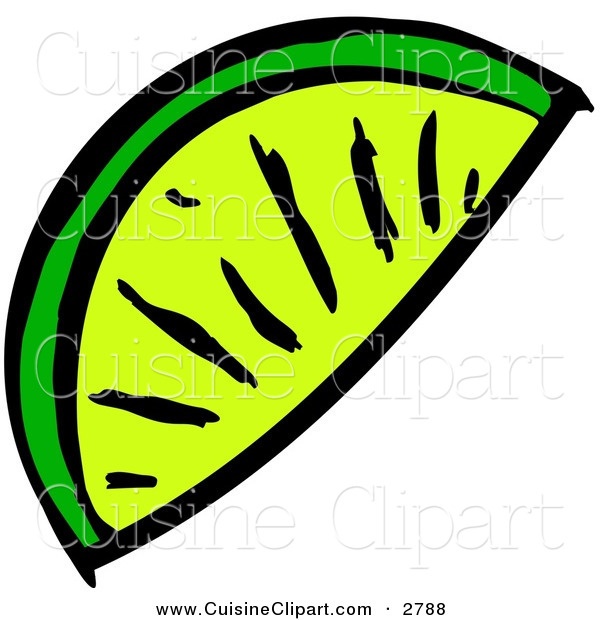 Cuisine Clipart of a Lime Wedge Slice on White