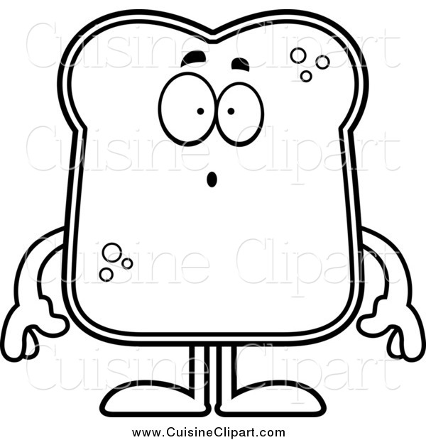Cuisine Clipart of a Lineart Surprised Bread Character