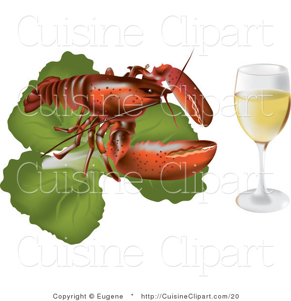 cuisine clipart of a lobster on lettuce served with champagne by eugene 20. Black Bedroom Furniture Sets. Home Design Ideas