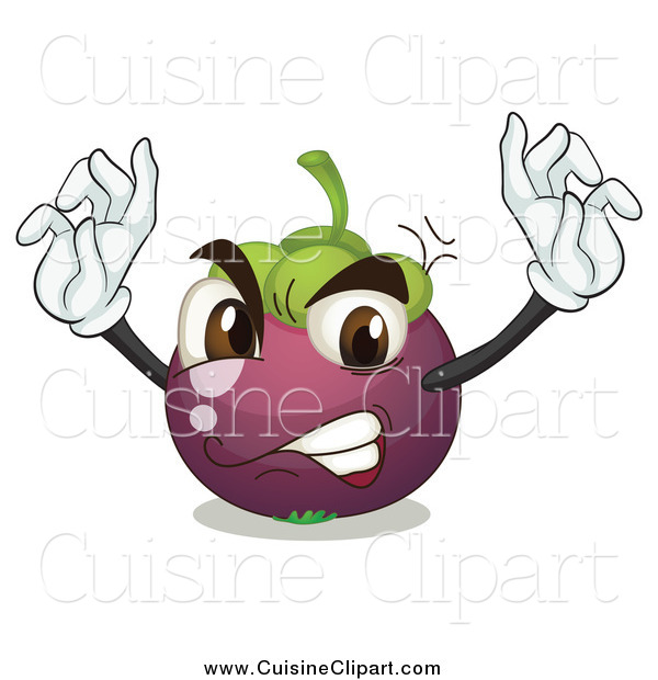 Cuisine Clipart of a Mad Mangosteen Fruit Character