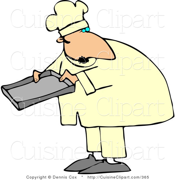 Cuisine Clipart of a Male Baker or Cook Holding a Pan