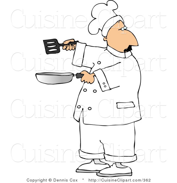 Cuisine clipart of a male chef holding a frying pan and for Art and cuisine pans