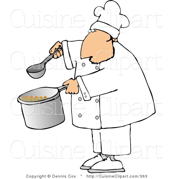 Cuisine Clipart of a Male Chef Holding a Ladle and Pot of Soup