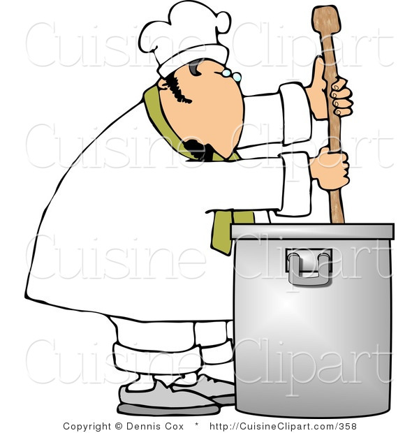 Cuisine Clipart of a Male Chef Stirring a Large Silver Pot of Soup with a Spoon