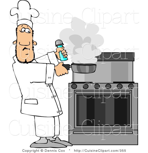 Cuisine Clipart of a Male Cook Lifting a Smoking Skillet from a Hot Stove