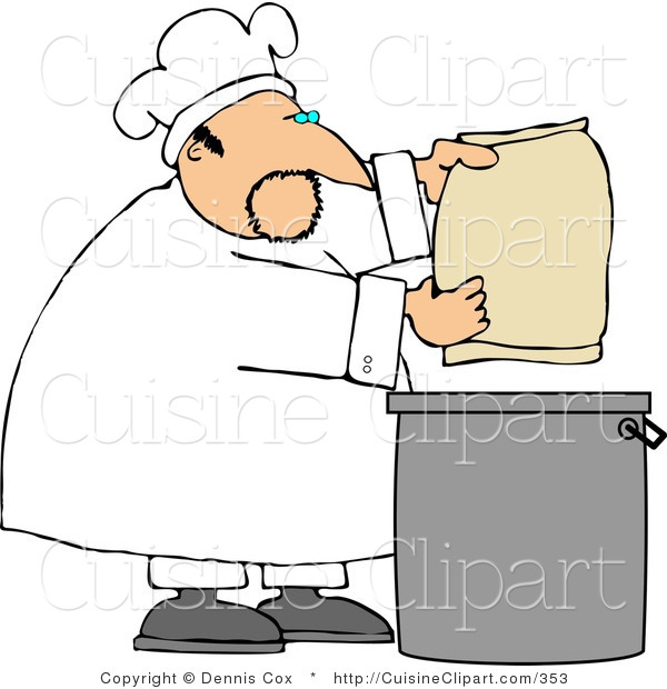Cuisine Clipart of a Male Cook Making Bread