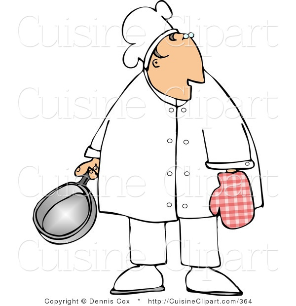 Cuisine Clipart of a Male Cook Wearing an Oven Mitten and Holding a Cooking Pot
