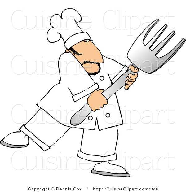 Cuisine Clipart of a Male Cook with a Big Fork