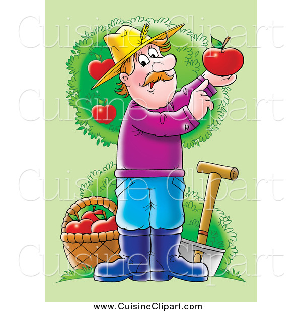 Cuisine Clipart of a Male Farmer with a Shovel and Basket in an Apple Orchard, Holding up a Perfect Red Apple