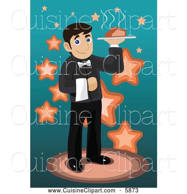 Cuisine Clipart of a Male Waiter Serving Food