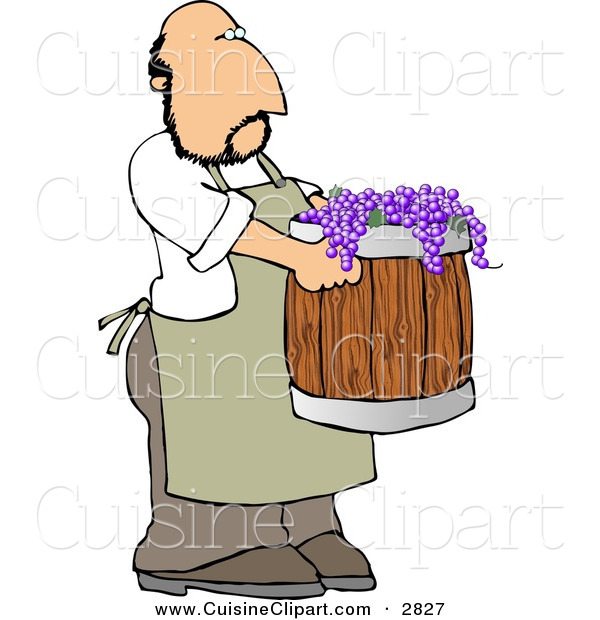 Cuisine Clipart of a Man Harvesting Wine Grapes in a Barrel