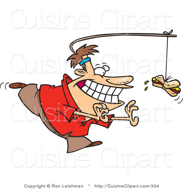 Cuisine Clipart of a Man Running in Circles Chasing a Hotdog on a Stick Attached to His Head