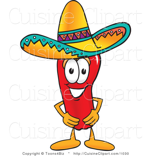 Cuisine Clipart of a Mexican Chili Pepper Wearing a Sombrero Hat
