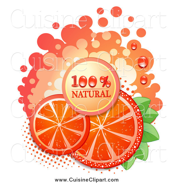 Cuisine Clipart of a Natural Blood Orange Slices and Text