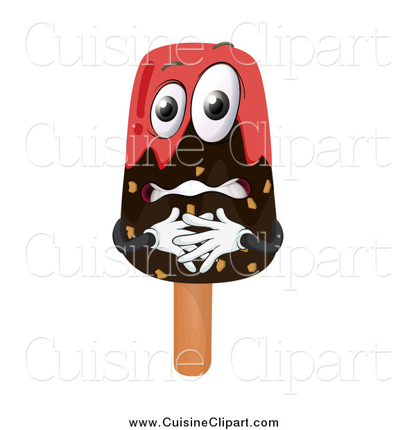 Cuisine Clipart of a Nervous Chocolate Dipped Popsicle