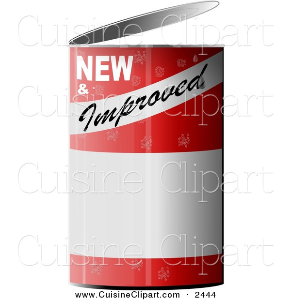 Cuisine Clipart of a NEW and Improved Can Of...