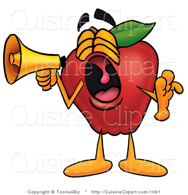 Cuisine Clipart of a Noisy Red Apple Character Mascot Screaming into a Megaphone